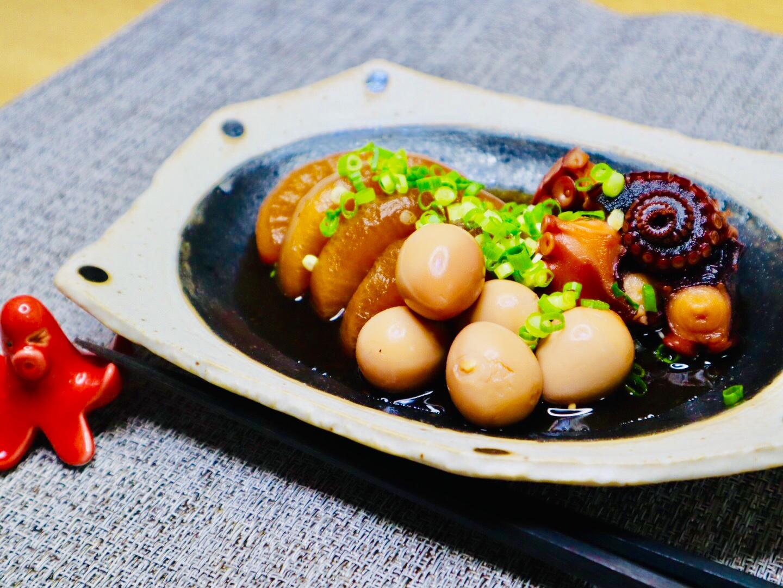 写真:うずらの卵とタコと大根のやわらか煮